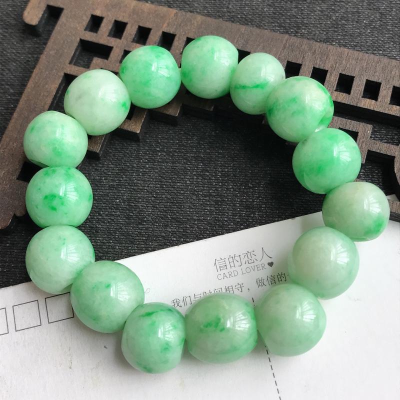 编号:c1007,翡翠A货,飘绿路路通手链,尺寸:12.2*14.3mm,