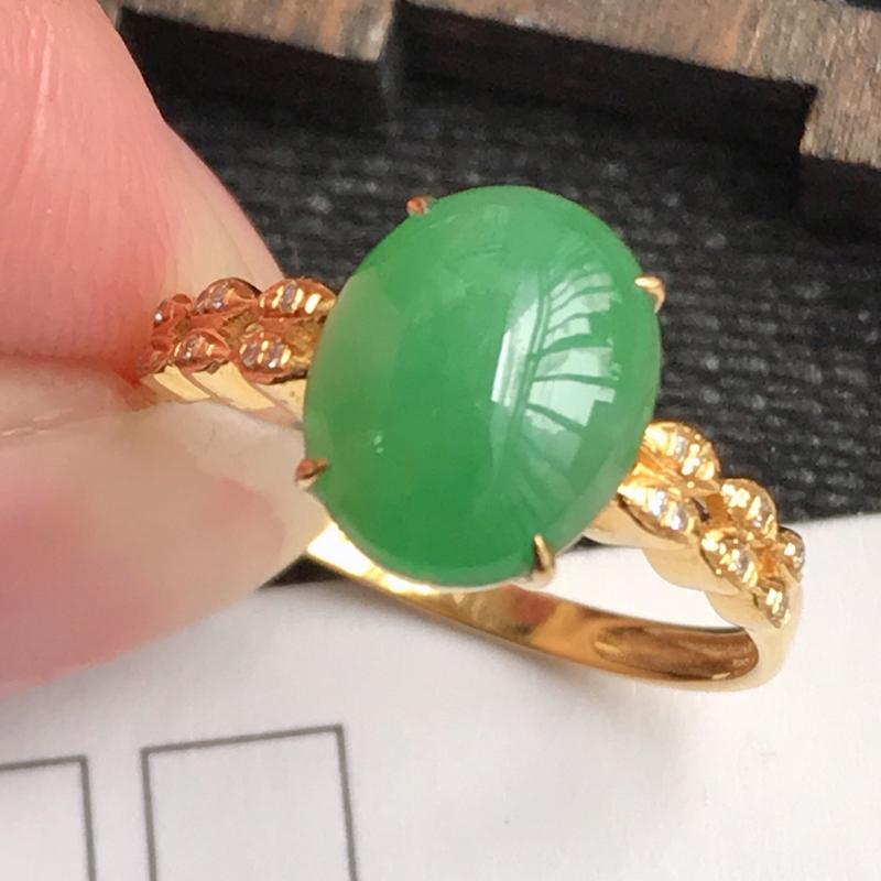编号:f912,翡翠A货,满绿18k金伴钻福气戒指,裸石尺寸:10*8*3mm,包金尺寸:10*8*