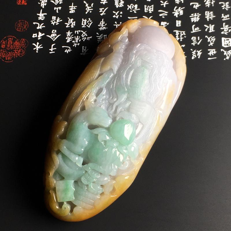 糯种三彩【福禄寿】摆件 质地细腻 雕工精湛 色彩艳丽