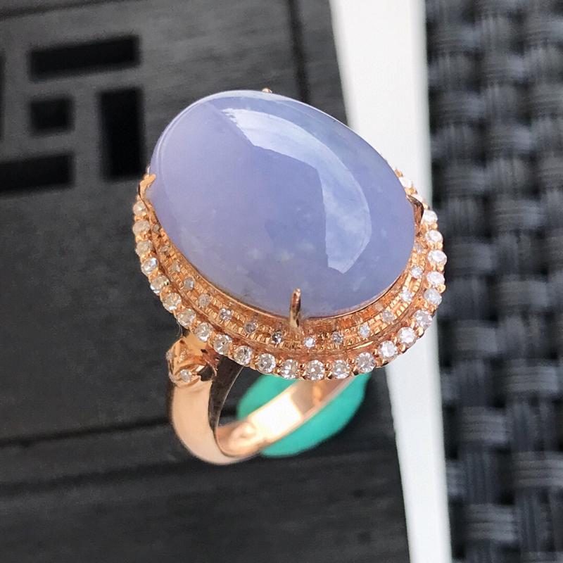 天然翡翠A货18K镶金伴钻糯化种水润饱满紫罗兰戒指,内径17.1mm,裸石15.8-11.6-6.2