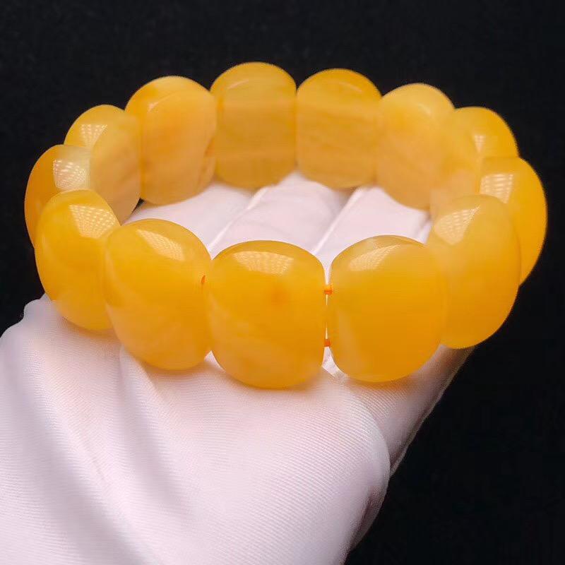 原矿高品质浓郁黄蜜蜡手排