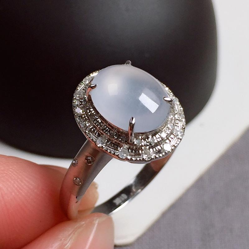 冰种翡翠戒指,种水好,玉质冰透纯净,起荧光,指圈:13#,尺寸:9.6-7.5-3.6