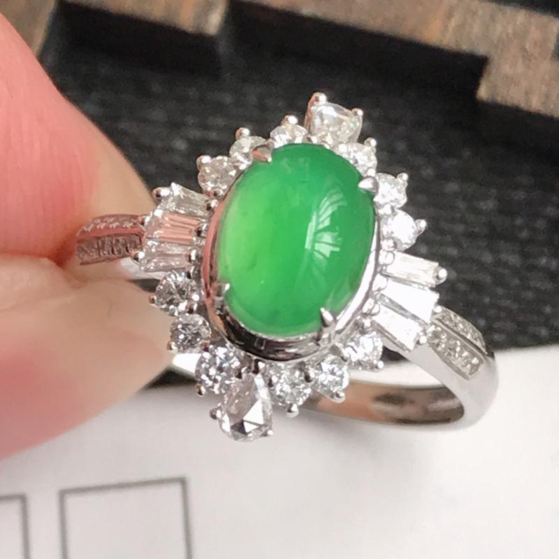 编号:f912,翡翠A货,飘绿18k金伴钻福气戒指,裸石尺寸:7*5.3*3.3mm,包金尺寸:13