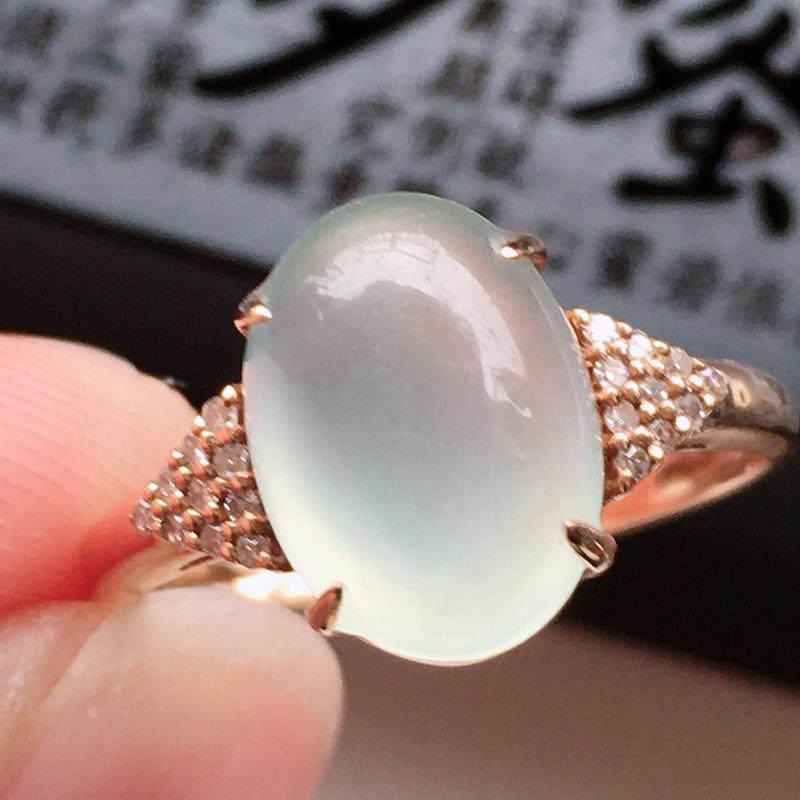 精品翡翠18k镶嵌伴钻戒指,玉质莹润,佩戴效果更美,尺寸:内径:17.1MM,整体尺寸:11*8*7