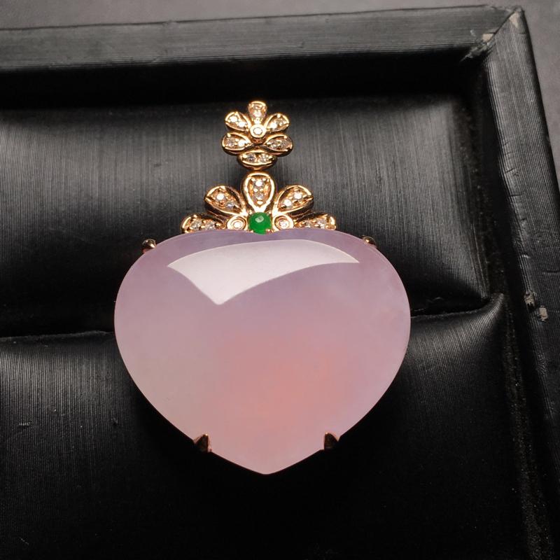 紫罗兰❤️形翡翠吊坠,种老水润,紫色鲜艳,饱满厚装,裸石尺寸:20.3*24.6*3.5整体尺寸:3