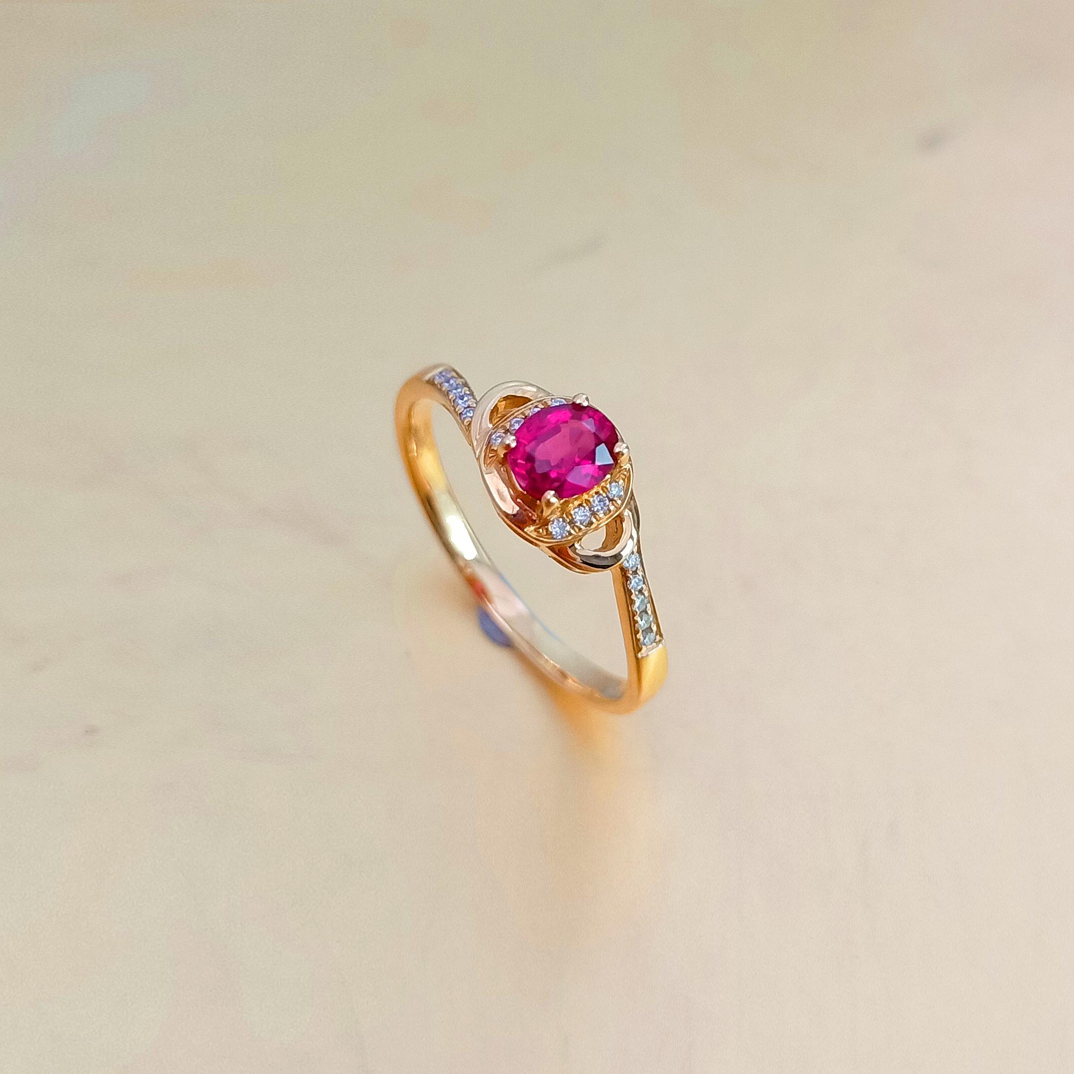 【戒指】18K金+红宝石+钻石 宝石颜色纯正 主石:0.42t/1P 货重:1.96g