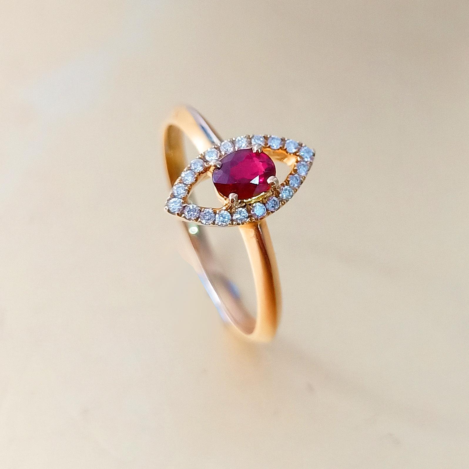 【戒指】18K金+红宝石+钻石 宝石颜色纯正 主石:0.23t/1P 货重:2.17g
