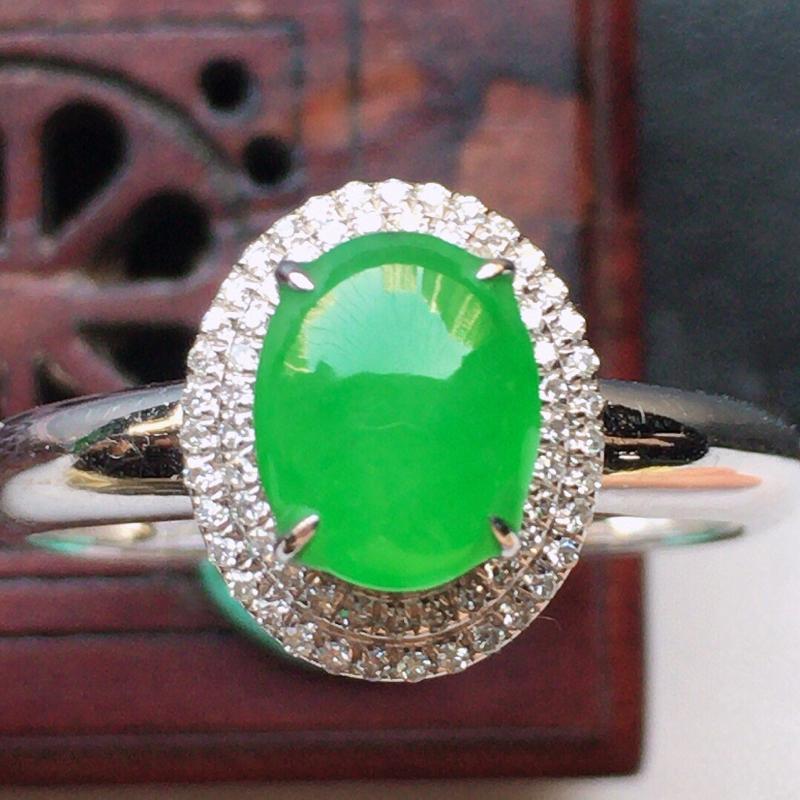 翡翠16圈18k金伴钻镶嵌满绿蛋面戒指,玉质莹润,佩戴佳品,内径:16.8mm(可免费改圈口大小),