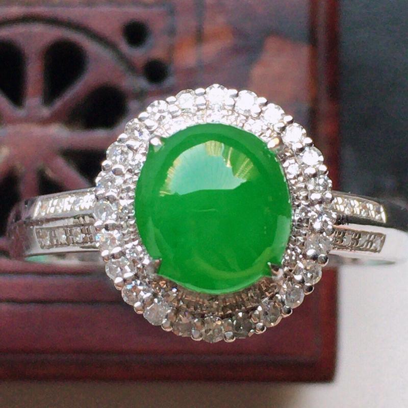翡翠17圈18k金伴钻镶嵌满绿蛋面戒指,玉质莹润,佩戴佳品,内径:17.3mm(可免费改圈口大小),