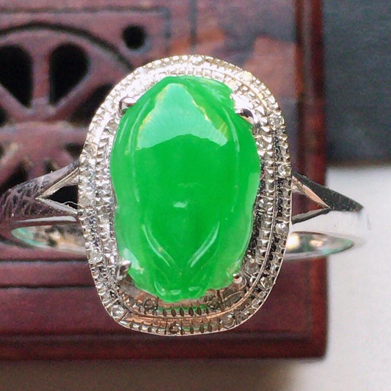 翡翠17圈18k金伴钻镶嵌满绿貔貅戒指,玉质莹润,佩戴佳品,内径:17.5mm(可免费改圈口大小),
