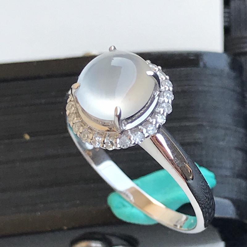 天然翡翠A货18K镶金伴钻冰种起光通透白冰种水戒指,内径17.1mm,裸石7.2-6.8-4mm玉质