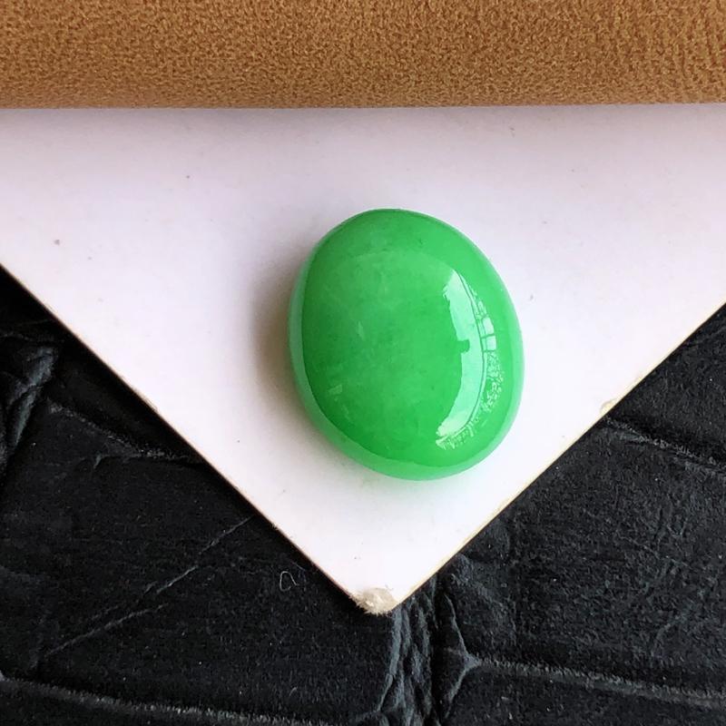 【天然a货翡翠满绿裸石蛋面(镶嵌件)戒面,玉质细腻,种水足】图5