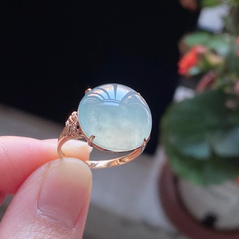 天然A货翡翠老坑冰糯种精美水润18K金钻戒指 编码0125