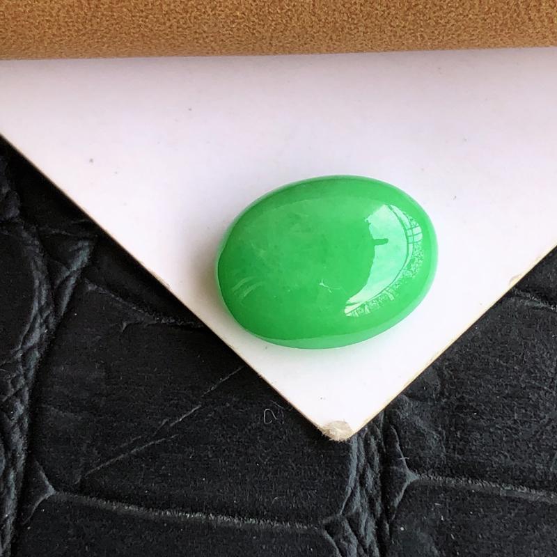 【天然a货翡翠满绿裸石蛋面(镶嵌件)戒面,玉质细腻,种水足】图3