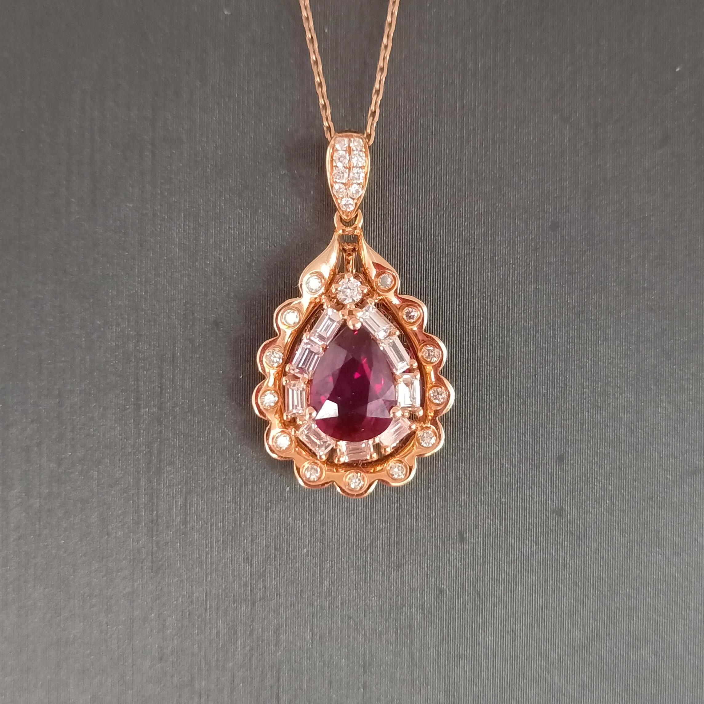 【吊坠】18K金+红宝石+钻石 宝石颜色纯正 主石:1.16ct/1P 货重:2.62g