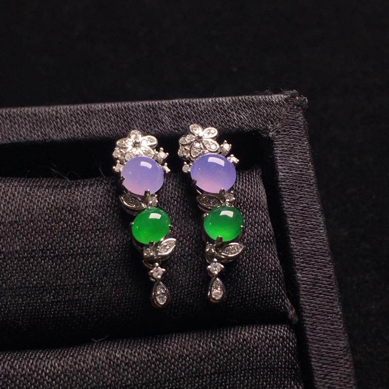 冰粉紫阳绿蛋面耳坠,精致时尚,优雅大方,细腻冰透,色泽甜美浓郁,裸石:4*4*3,4*3*2.5,