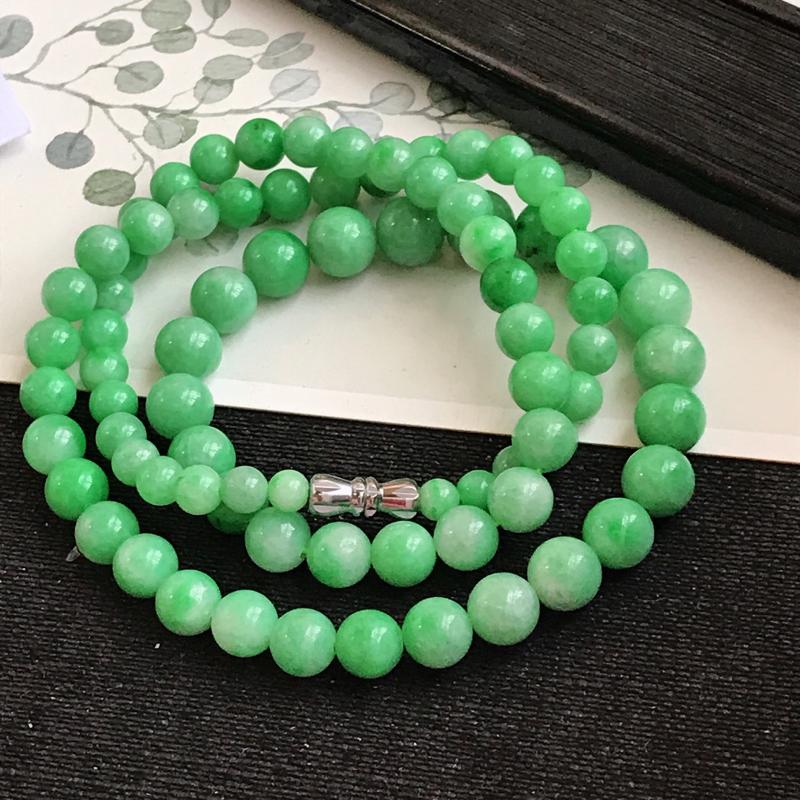 编号c1007,翡翠A货,飘阳绿项链尺寸大颗的尺寸8小的尺寸6mm