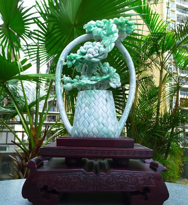 缅甸天然翡翠A货 精美飘绿 喜上眉梢 花开富贵 多子多福 好事连连 花蓝,花瓶,平平安安摆件 雕刻精