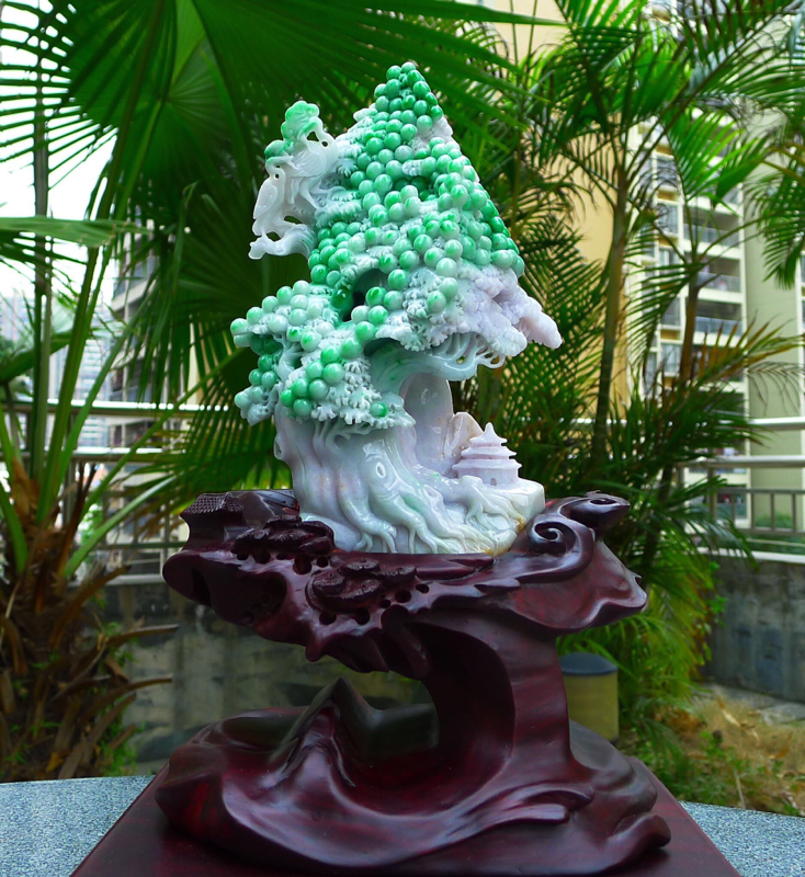 大件 精美飘阳绿色 发财树,缅甸天然A货翡 精美 一路发财 一路相随 多子多福 发财树摆件 雕刻精美