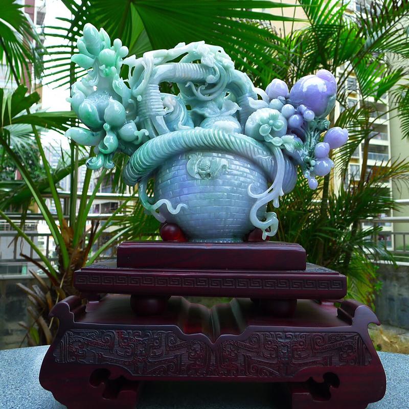 缅甸天然翡翠A货 精美春带彩 喜上眉梢 花开富贵 多子多福 好事连连 花蓝摆件 雕刻精美线条流畅 种