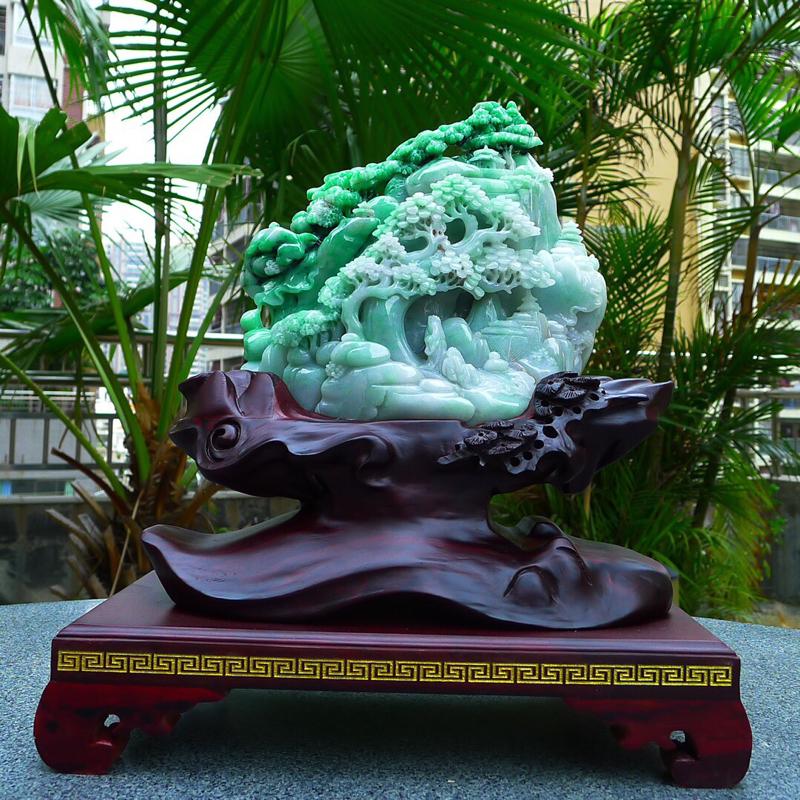 缅甸天然翡翠A货飘 阳绿 高山流水 山水摆件 雕刻精美线条流畅种水好 层次分明 工艺精湛 搭配精美高