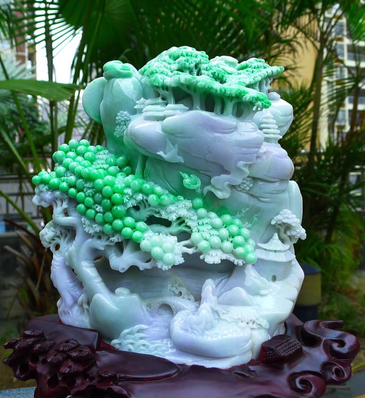 大件阳绿 山水摆件 缅甸天然翡翠A货 飘阳绿 高山流水 山水摆件 雕刻精美线条流畅种水好 层次分明