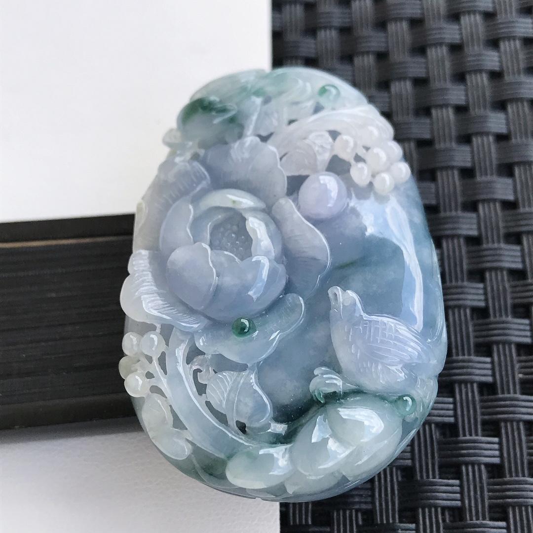 天然翡翠A货糯化种精雕紫底飘花鸟语花香吊坠,裸石45.7-32.3-13.1mm