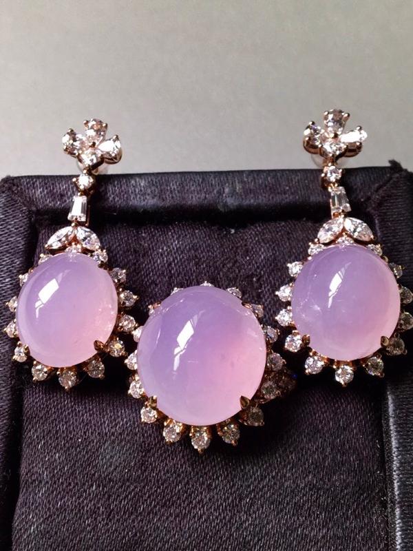 一套,紫罗兰套装,戒指➕耳坠套装,无裂,水头足,种色兼备,裸石戒指15.3/13.5/8耳坠13.2