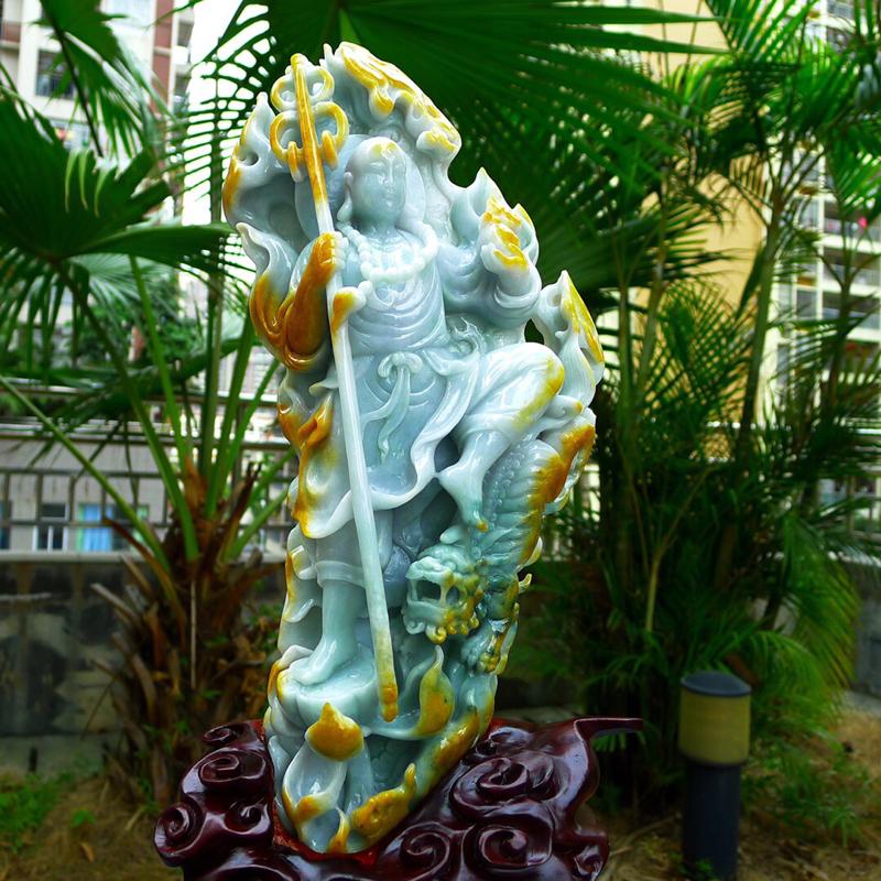 精美 伏虎罗汉摆件,缅甸天然A货翡翠 精美黄加绿色 精雕巧刻 伏虎罗汉摆件 招财进宝 安居乐业 雕刻