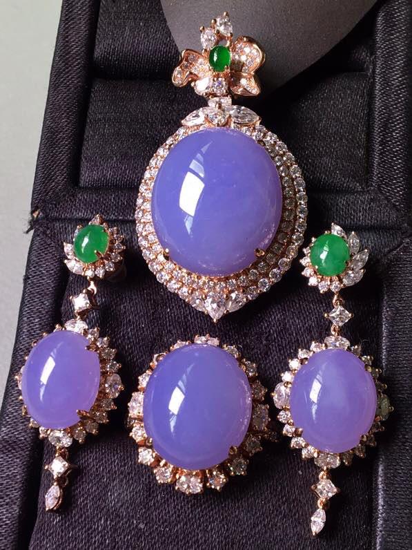 一套.紫罗兰套装,戒指➕耳坠➕吊坠套装,无裂,水头足,种色兼备,裸石戒指14.5/12.3/7耳坠1