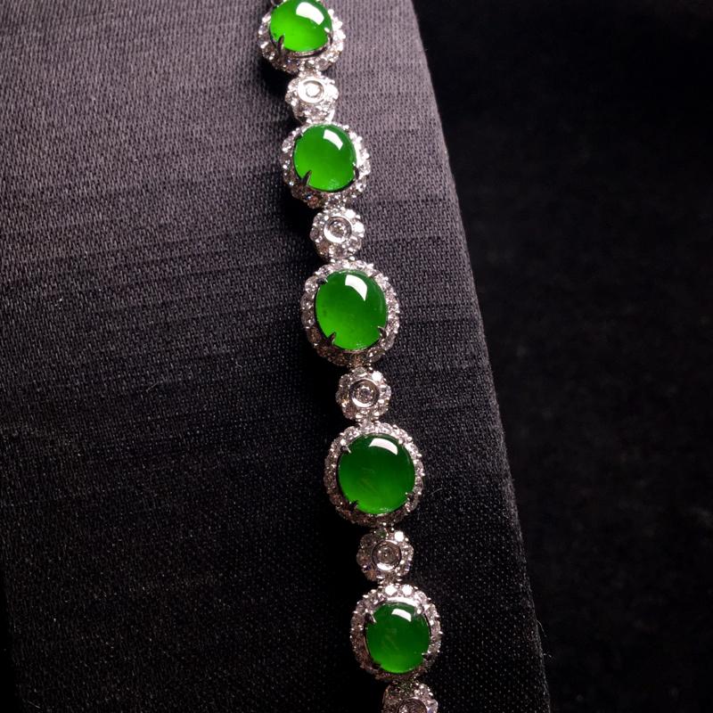 老坑高冰浓阳绿蛋面手链,种好通透,翠色浓郁,细腻饱满圆润,冰润剔透,种色兼备,佩戴优雅大气,裸石;7