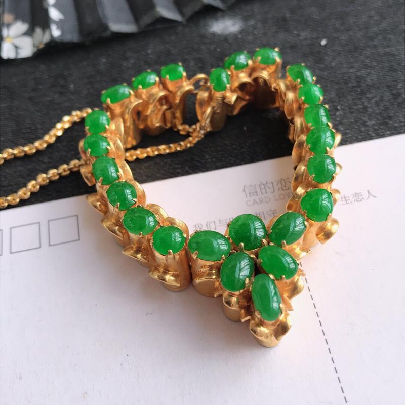 编号677,天然翡翠a货阳绿托铜项链裸石长尺寸 7.5-5.3-3mm