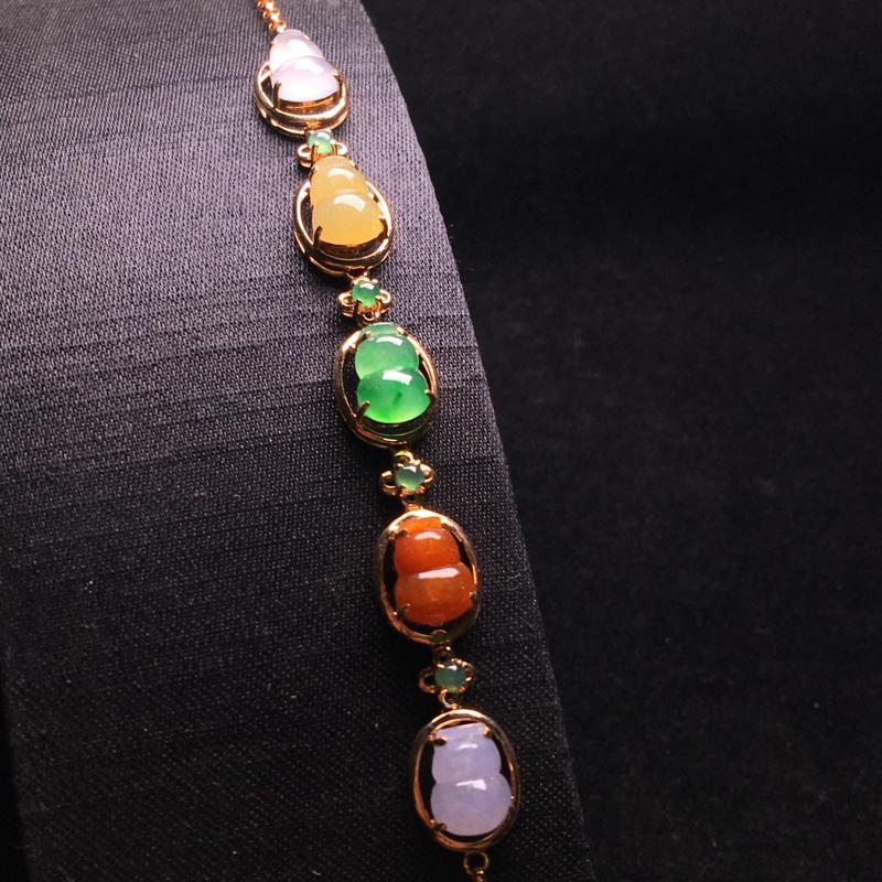 五彩小葫芦手链,简单大方,莹润光泽,细腻冰润,佩戴精致,裸石:8*6*3,整体:80*9*6