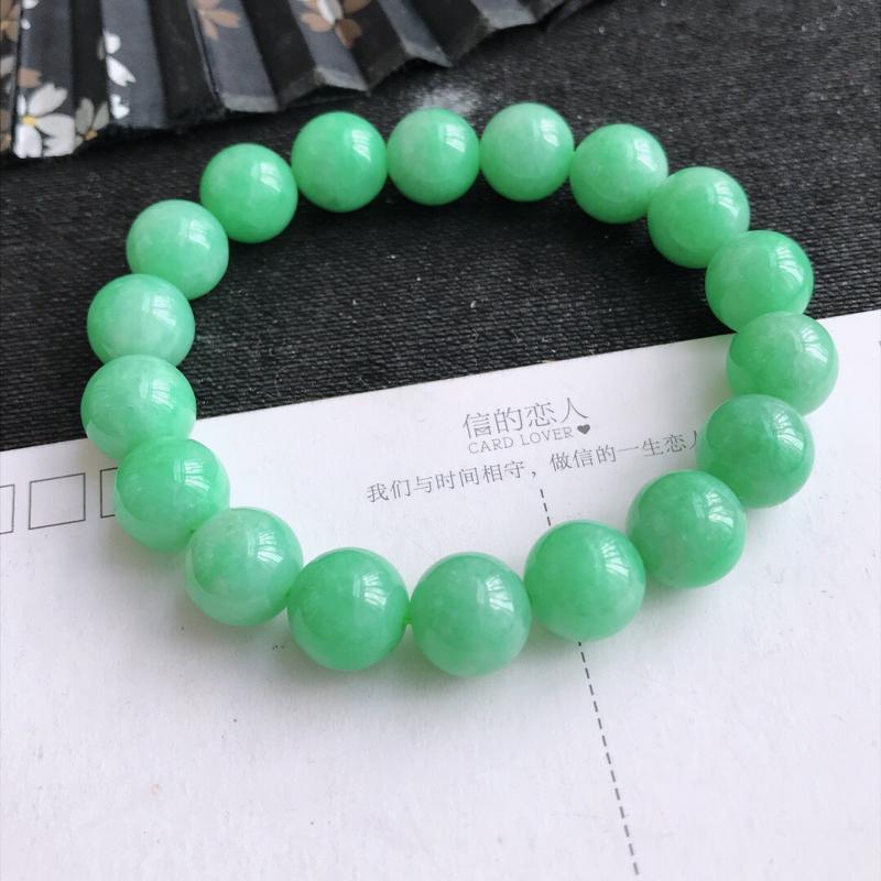 编号677,天然翡翠a货满绿手链裸石长尺寸 10.9mm