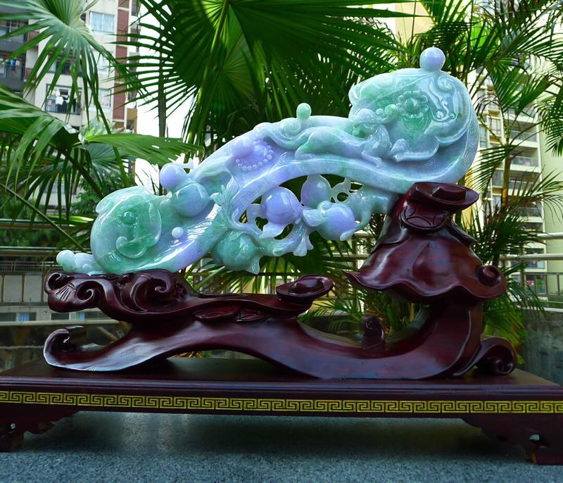 春带彩翡翠如意摆件 缅甸天然翡翠A货 大件如意摆件 精美寓意美好!