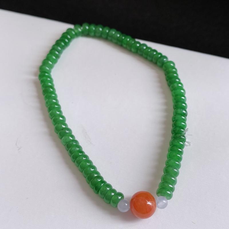 缅甸天然翡翠A货  满绿翡翠手链,尺寸4.6*2.2 mm,克重:8.00,佩戴者财源滚滚,象征幸