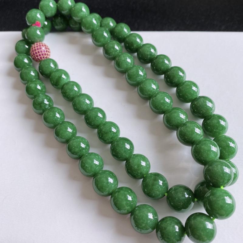 缅甸天然翡翠A货   满绿韵味圆珠项链,克重,152.37,尺寸:11.2,代表圆圆满满,财富越聚