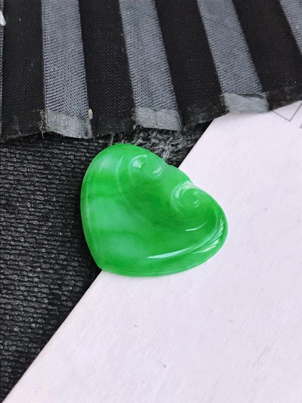 编号682天然翡翠a货满绿如意戒面可以镶嵌尺寸18-23-3.4
