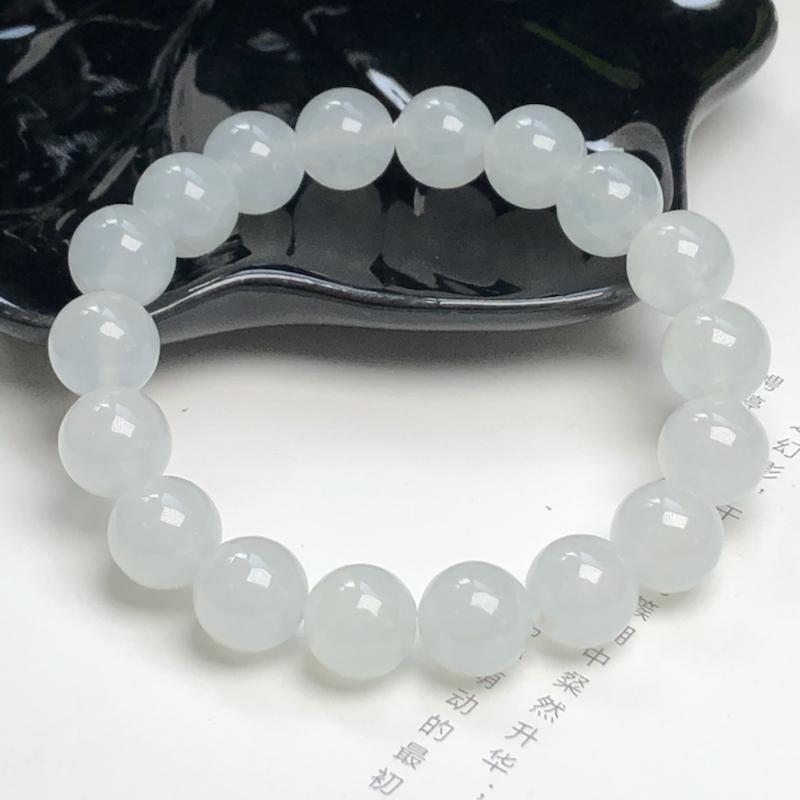冰糯种翡翠珠链手串、直径10.3毫米、质地细腻、水润光泽、ADA050C28