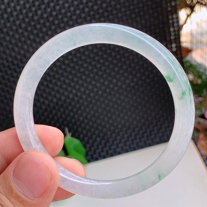 冰透圆条、圈口:56.6mm,A货翡翠冰透飘花圆条手镯、编号0223zs