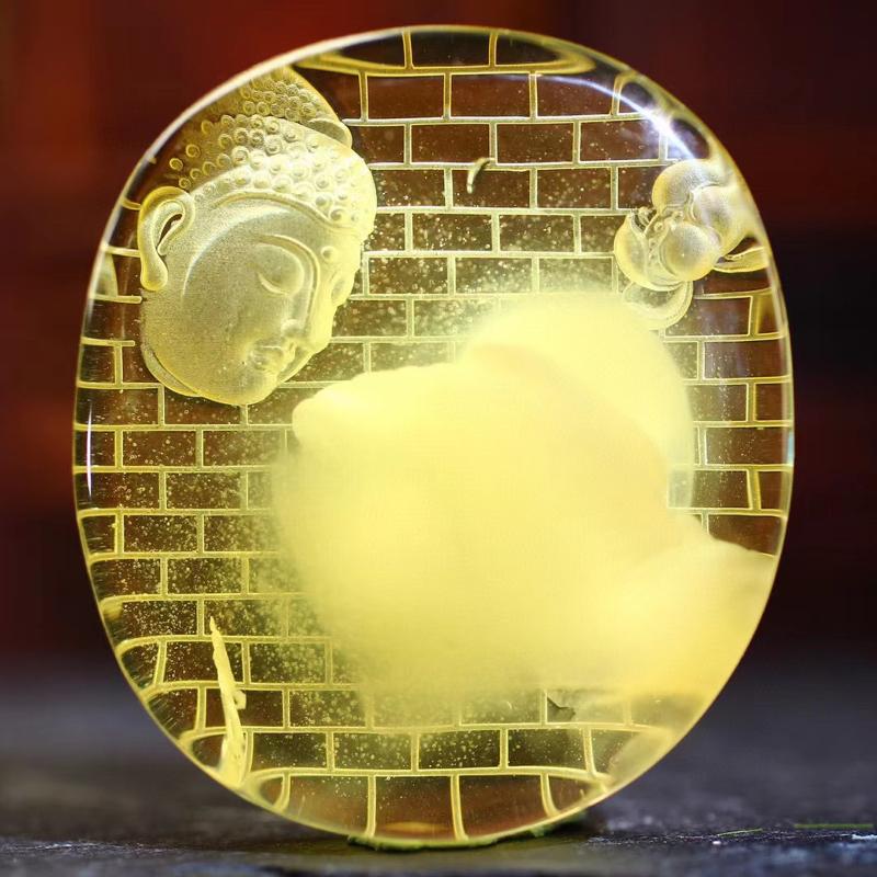 【意境如来】天然金绞蜜材质;精工阴雕;大日如来是遍照一切世间万物而无任何阻碍的法体;众德圆满;智慧之