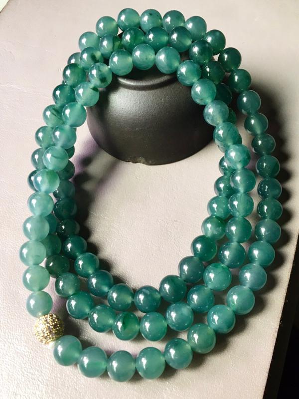【超低价放漏】蓝水珠链,无裂,水头足,种色兼备,裸石尺寸7.8mm、98颗。#*