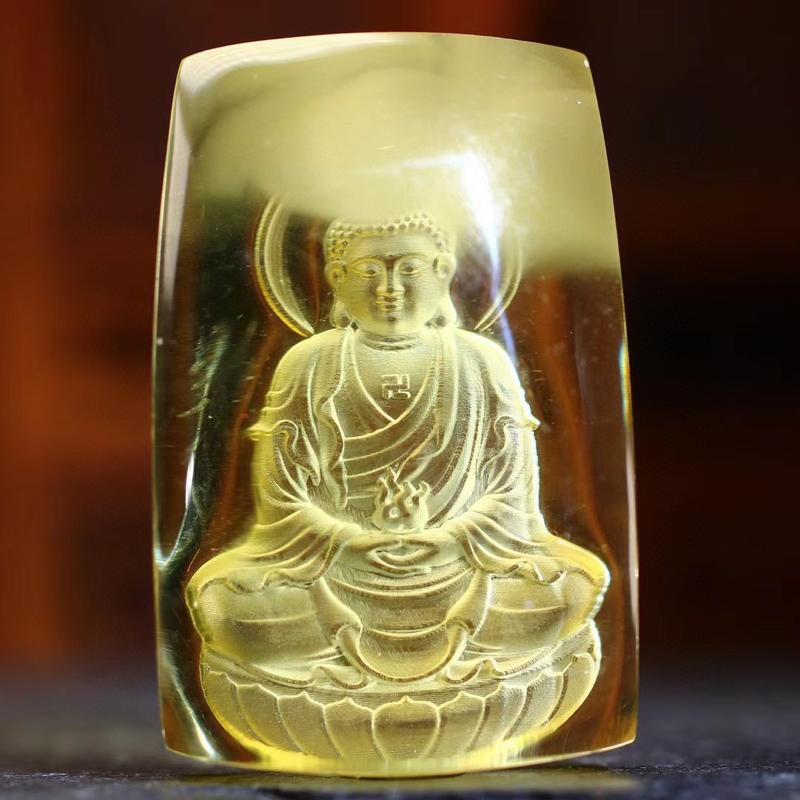 【大日如来】天然金绞蜜材质;精工雕刻;大日如来是遍照一切世间万物而无任何阻碍的法体;众德圆满;智慧之