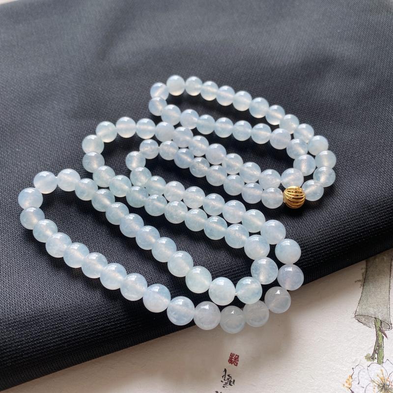 老坑冰糯种精美水润翡翠玉珠项链 共92颗玉珠 编码0224