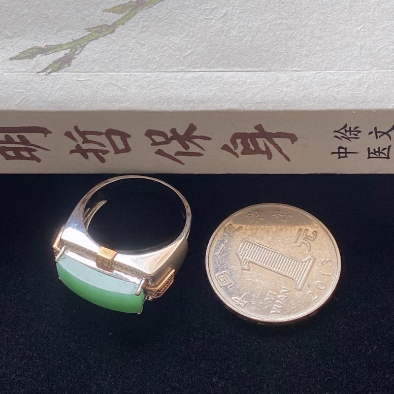 0224老坑精美水润阳绿翡翠18K金镶钻戒指