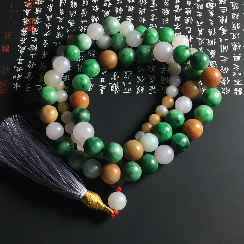 糯种多彩佛珠项链 77颗 取大尺寸12毫米 取小尺寸6毫米 色彩艳丽 独特大气