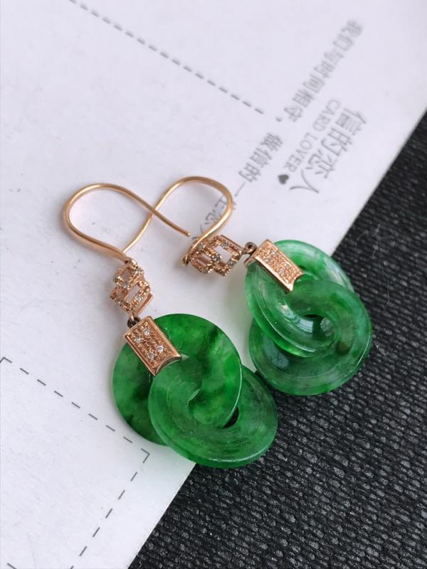 编号:md307nh,2.19翡翠A货,飘绿18k金伴钻平安扣耳环,裸石尺寸:36*14.7*3mm