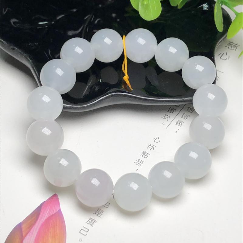糯种翡翠珠链手串、直径13.9毫米、质地细腻、水润光泽、ADA217C25
