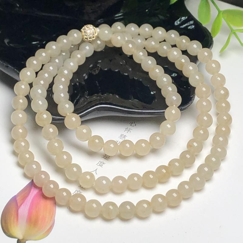 冰糯种黄翡翠珠链项链、108颗、直径7.0毫米、质地细腻、色彩鲜艳、隔珠是装饰品、ADA153C16