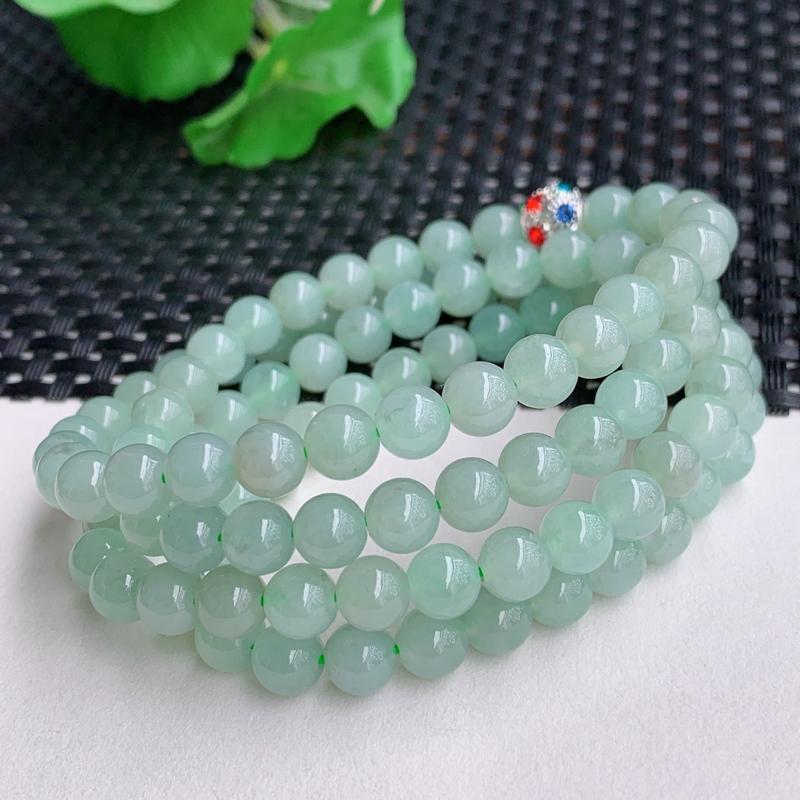 带绿项链、尺寸:108颗6.7mm,A货翡翠冰润带绿圆珠项链、编号0225a